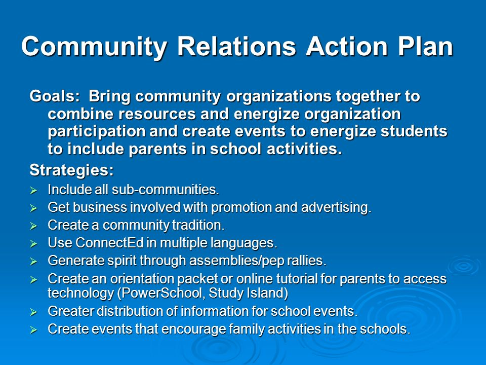 Community Relations Action Plan