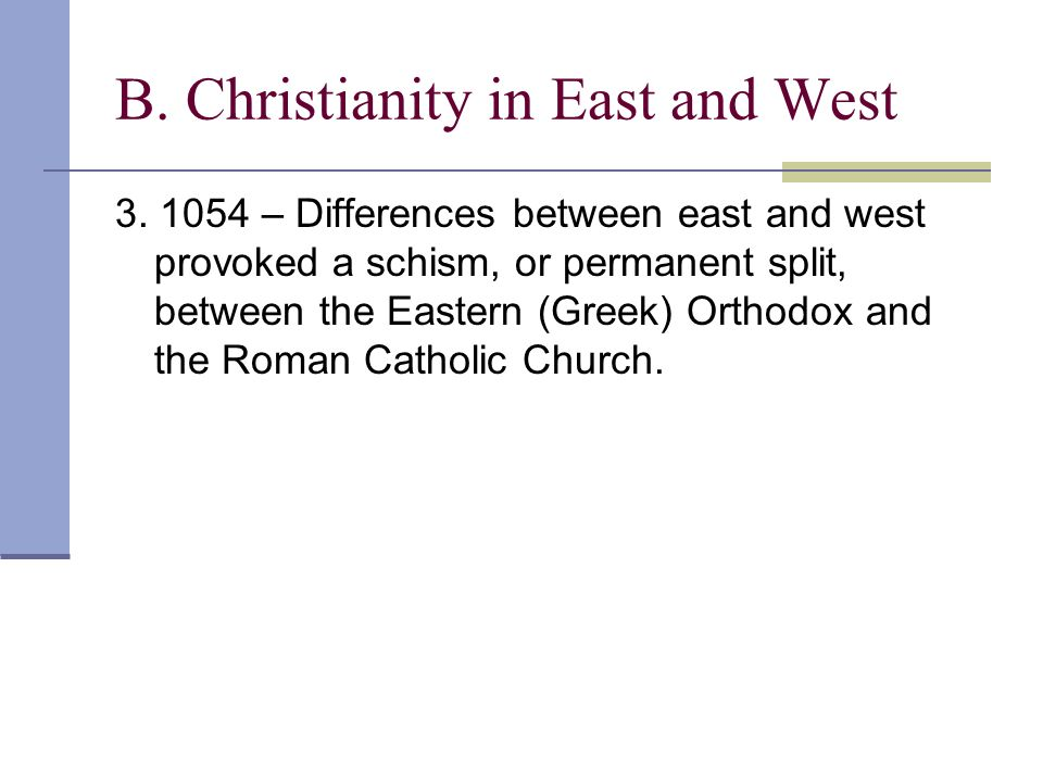 B. Christianity in East and West