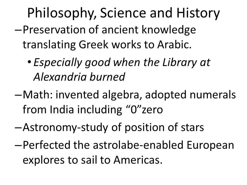 Philosophy, Science and History