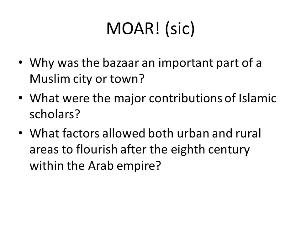 MOAR! (sic) Why was the bazaar an important part of a Muslim city or town What were the major contributions of Islamic scholars