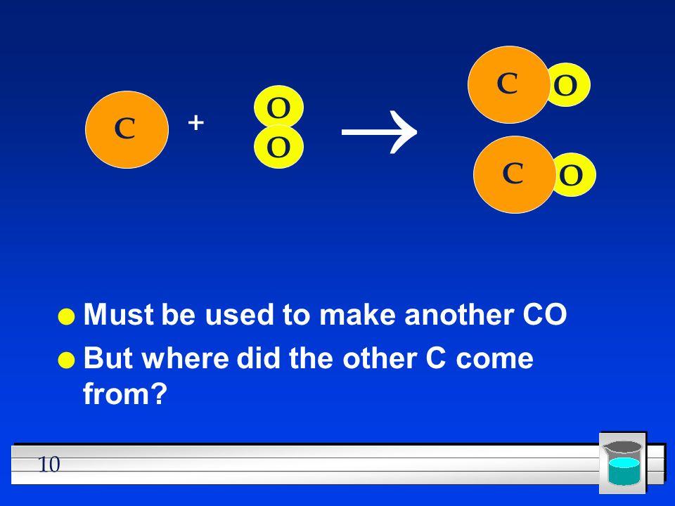® C O O + C O C O Must be used to make another CO