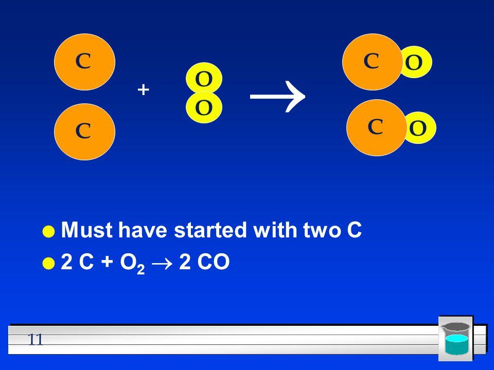 C C ® O O + O C C O Must have started with two C 2 C + O2 ® 2 CO
