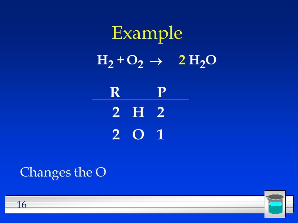 Example H2 + O2 ® 2 H2O R P 2 H 2 2 O 1 Changes the O