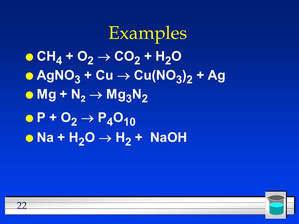 Examples CH4 + O2 ® CO2 + H2O AgNO3 + Cu ® Cu(NO3)2 + Ag