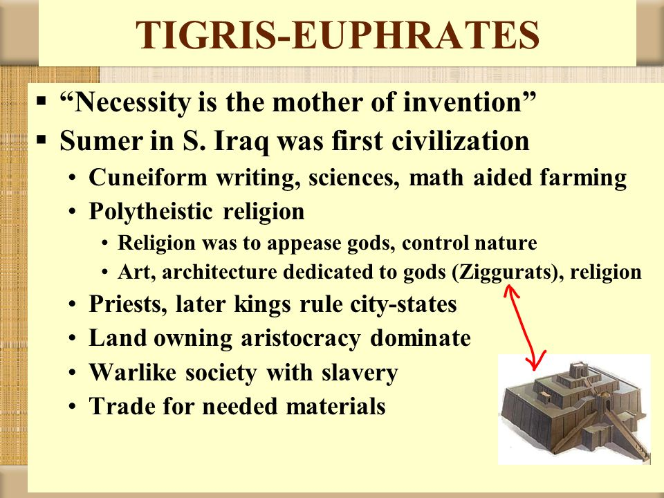 TIGRIS-EUPHRATES Necessity is the mother of invention