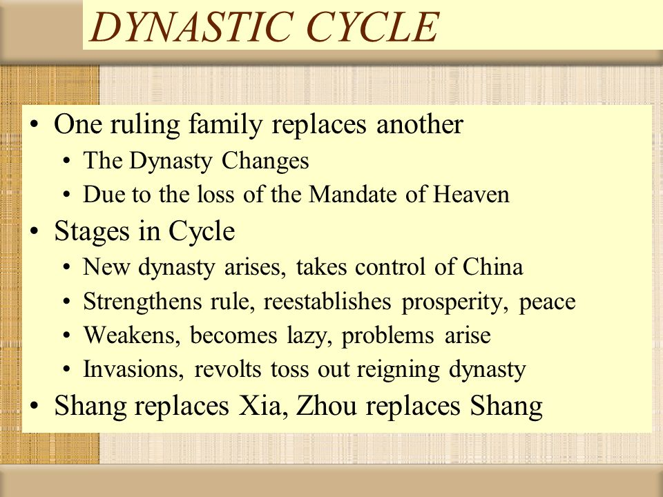 DYNASTIC CYCLE One ruling family replaces another Stages in Cycle
