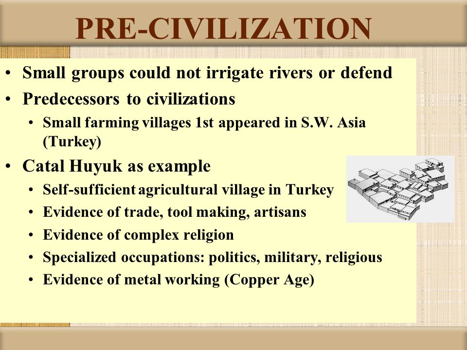 PRE-CIVILIZATION Small groups could not irrigate rivers or defend