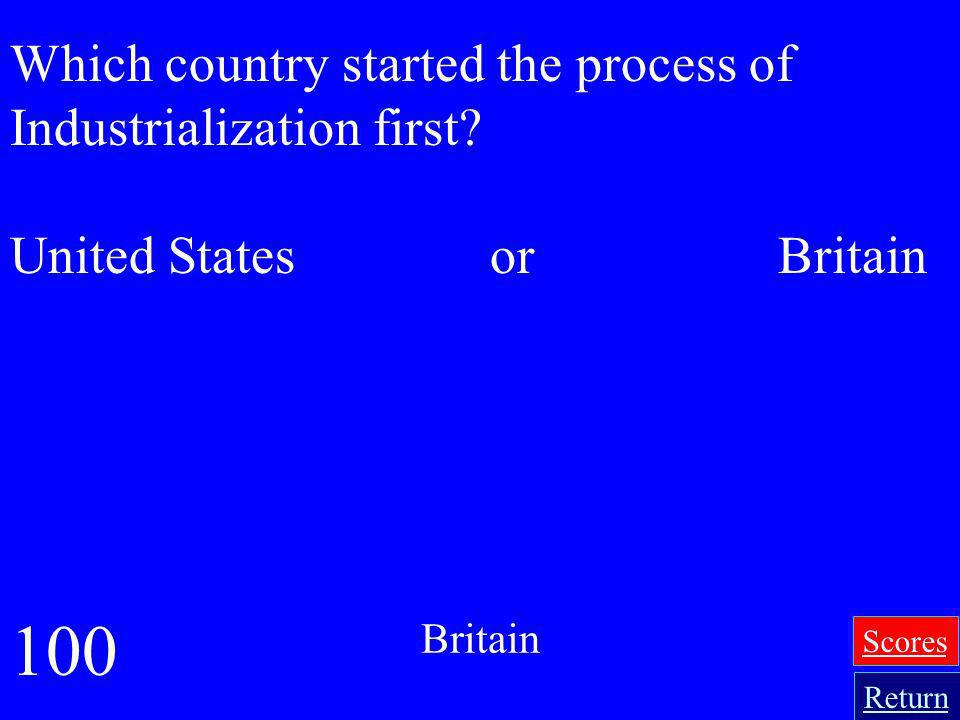 100 Which country started the process of Industrialization first