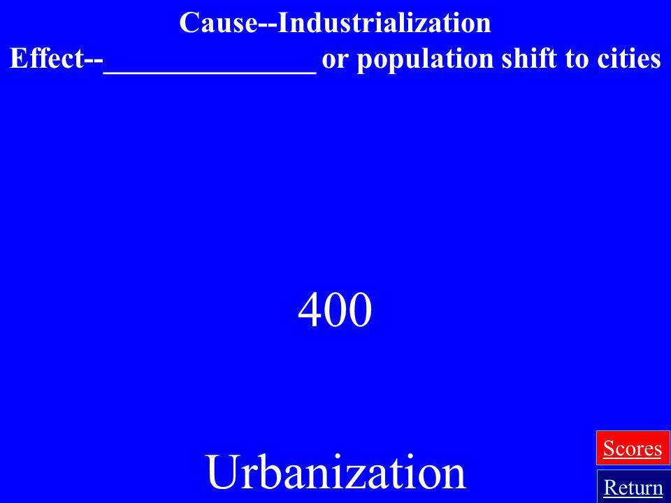 Effect--______________ or population shift to cities