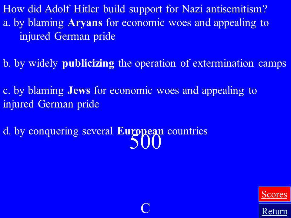 500 C How did Adolf Hitler build support for Nazi antisemitism