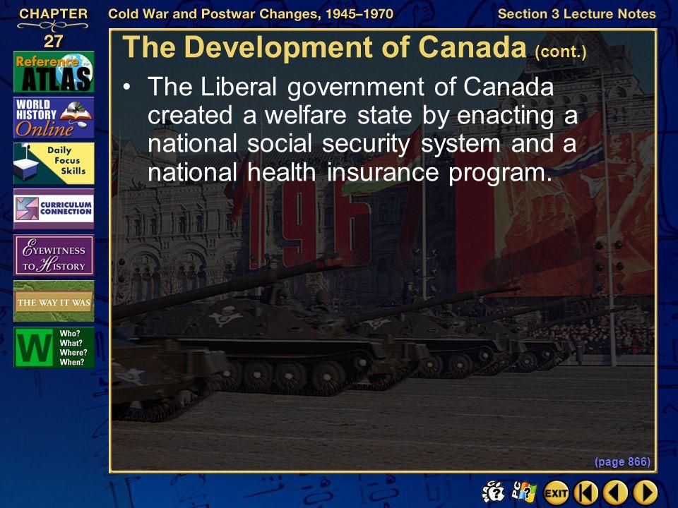 The Development of Canada (cont.)