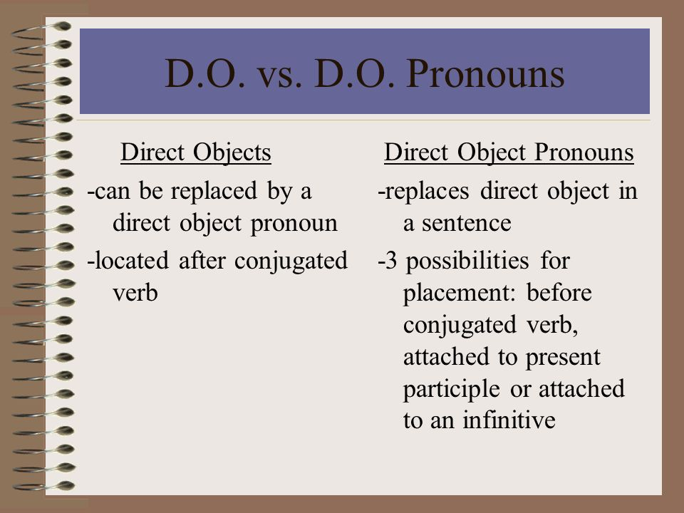 D.O. vs. D.O. Pronouns Direct Objects
