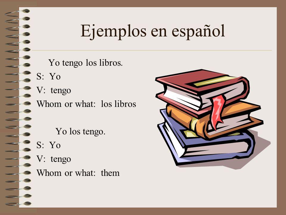 Ejemplos en español Yo tengo los libros. S: Yo V: tengo