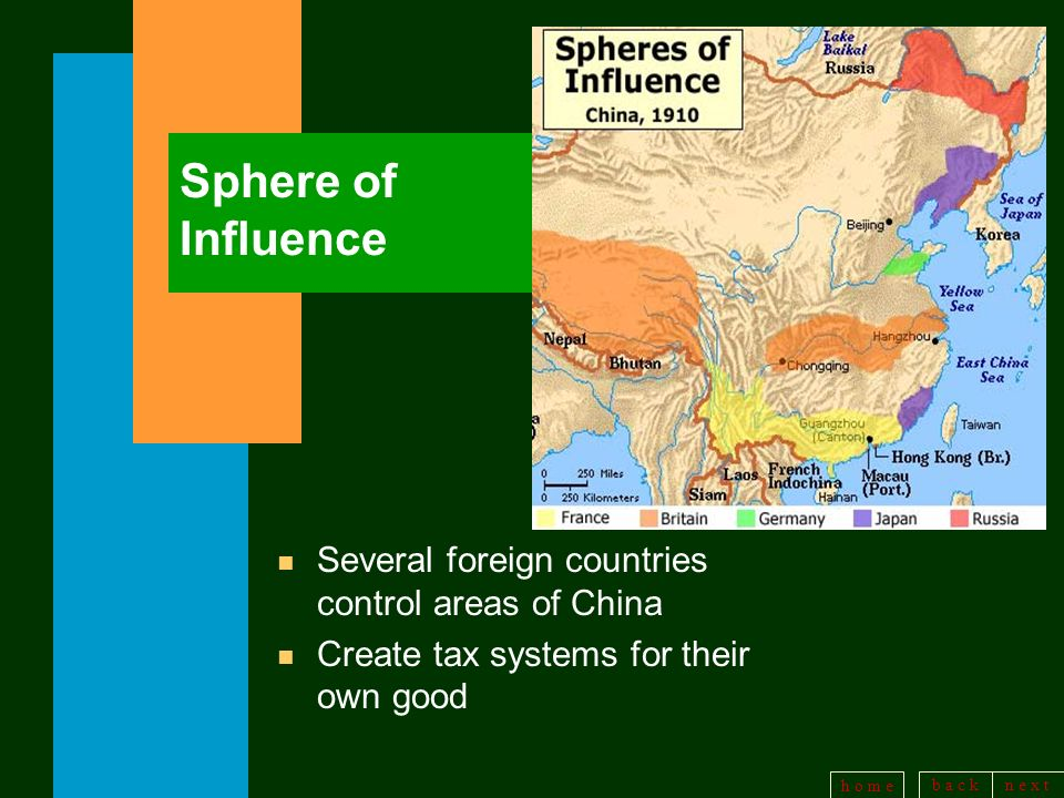 Sphere of Influence Several foreign countries control areas of China