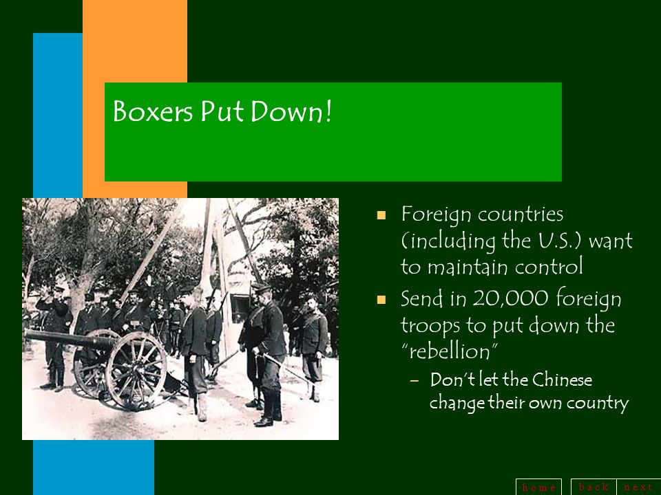 Boxers Put Down! Foreign countries (including the U.S.) want to maintain control. Send in 20,000 foreign troops to put down the rebellion