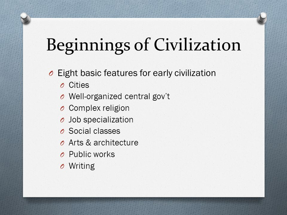 features of civilization essay Read this full essay on how did the geographic features of ancient egypt and   the indus valley civilization was the first civilization to develop in south asia.