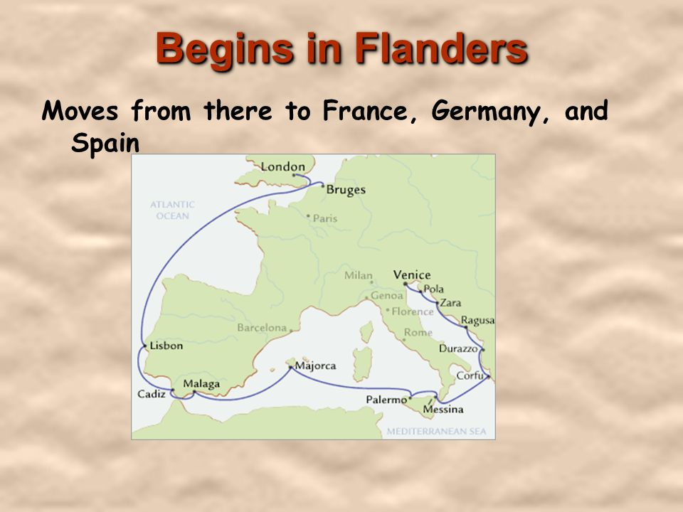 Begins in Flanders Moves from there to France, Germany, and Spain