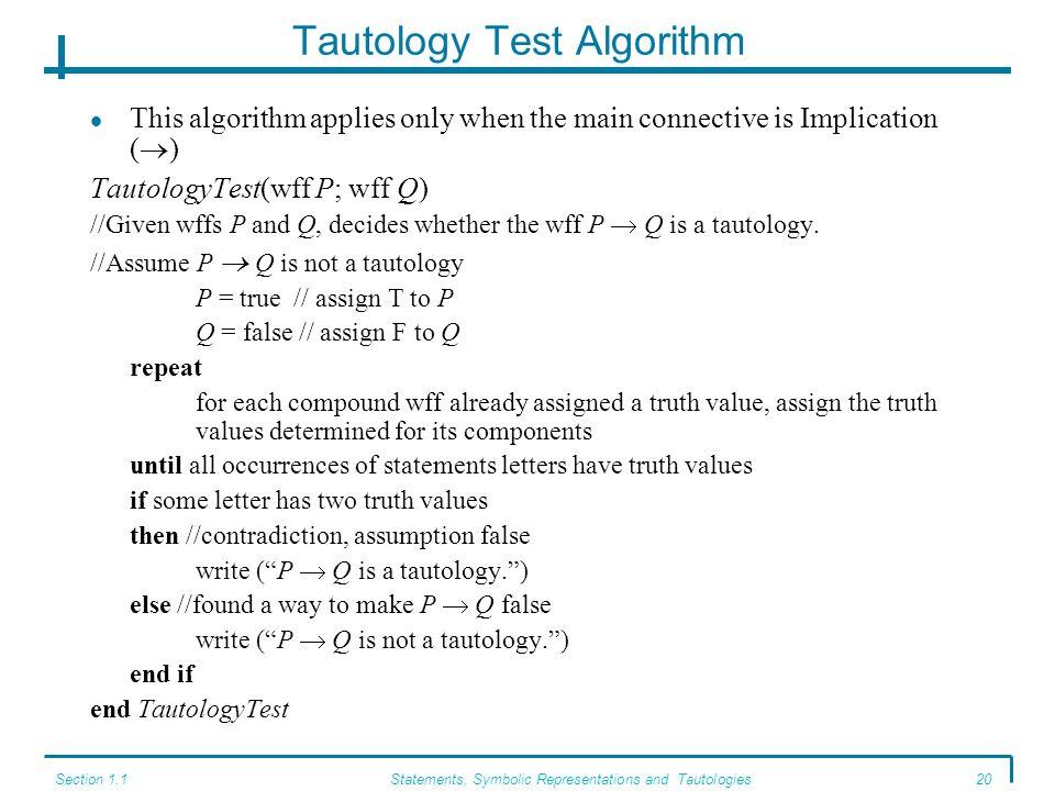 Tautology Test Algorithm