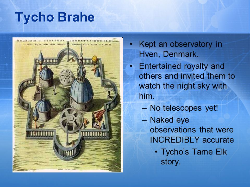 Tycho Brahe Kept an observatory in Hven, Denmark.