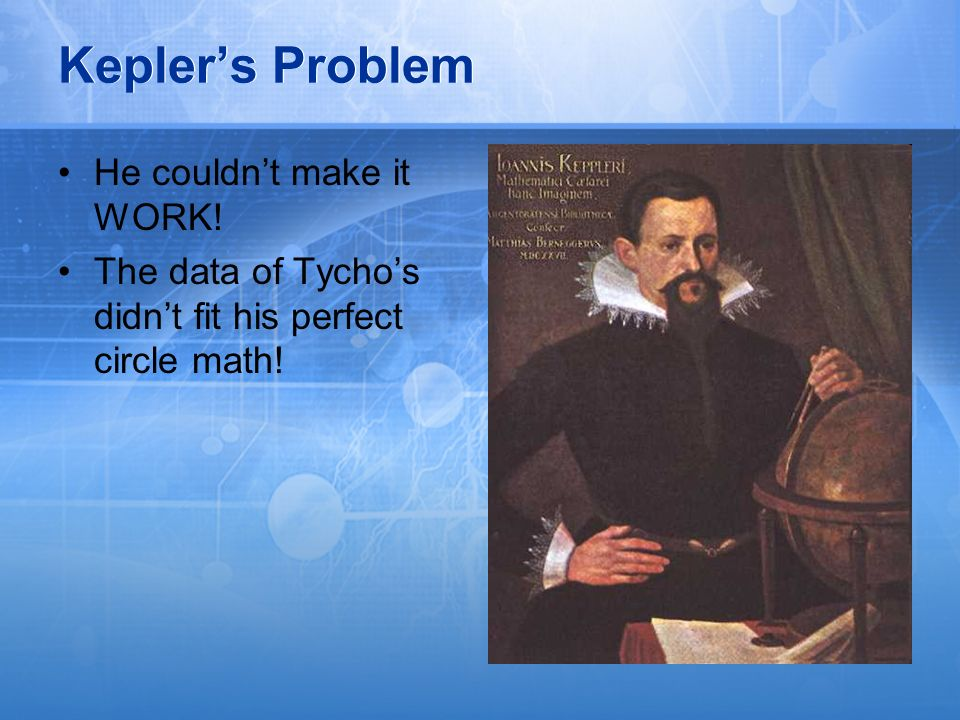 Kepler's Problem He couldn't make it WORK!