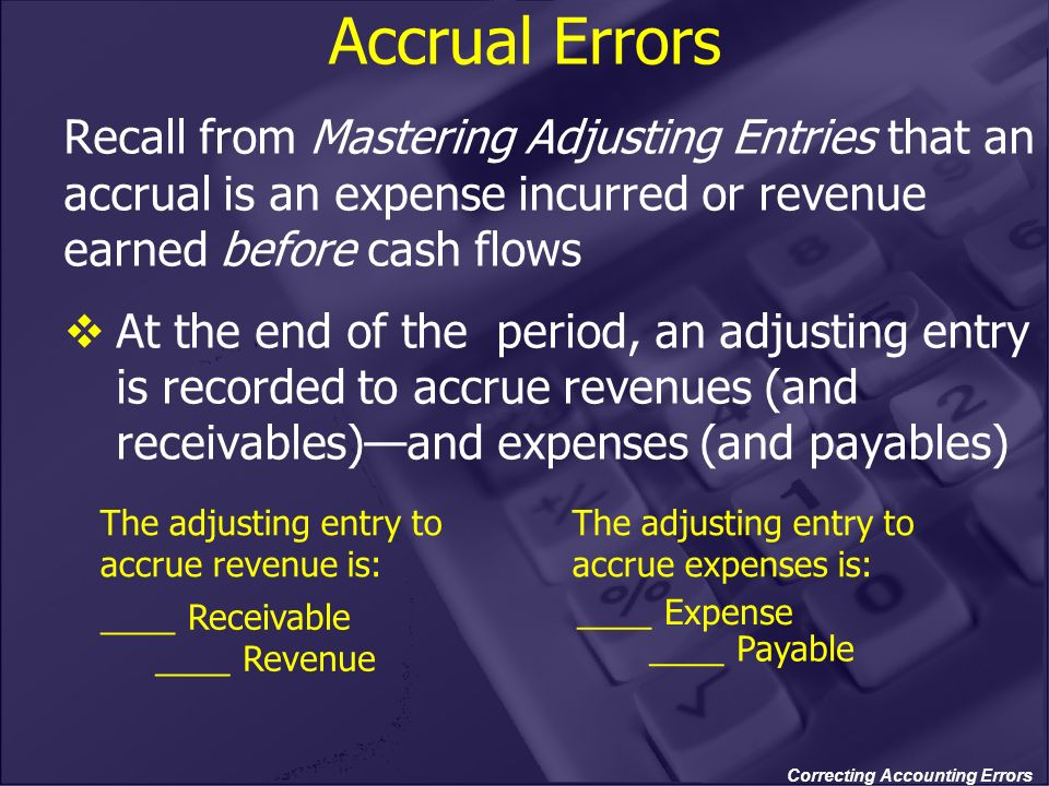 Correcting Accounting Errors