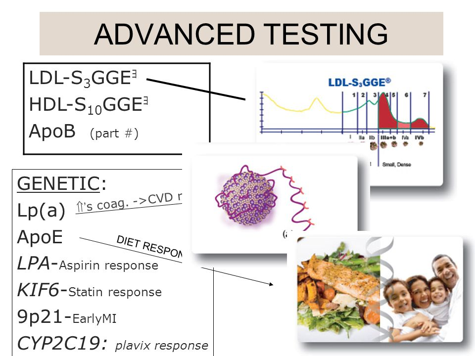 ADVANCED TESTING LDL-S3GGEョ HDL-S10GGEョ ApoB (part #) GENETIC: Lp(a)