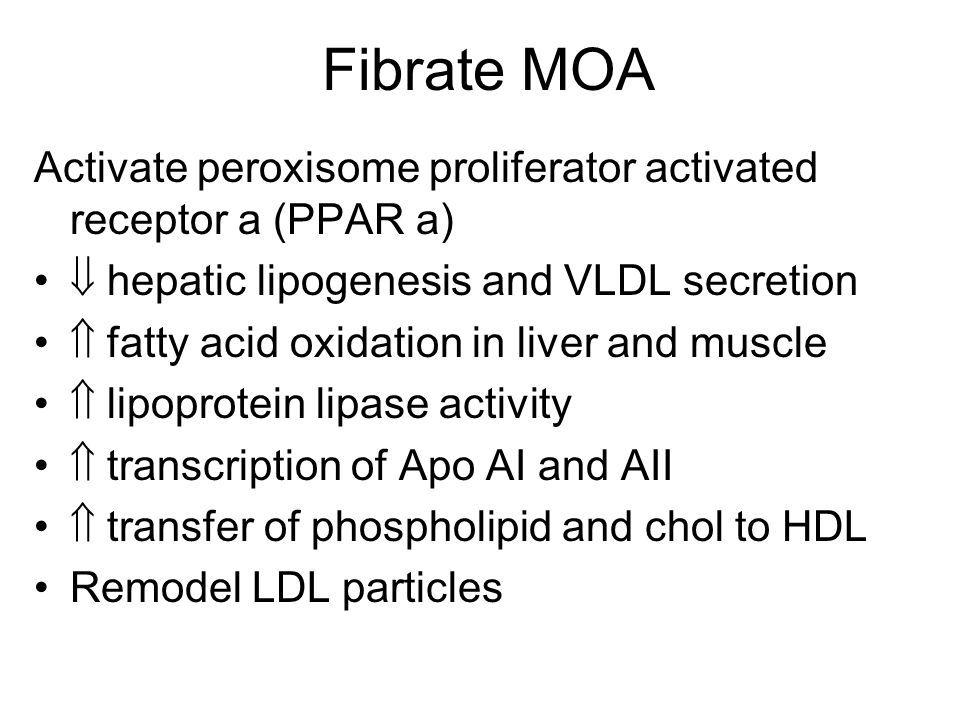 Fibrate MOA Activate peroxisome proliferator activated receptor a (PPAR a)  hepatic lipogenesis and VLDL secretion.