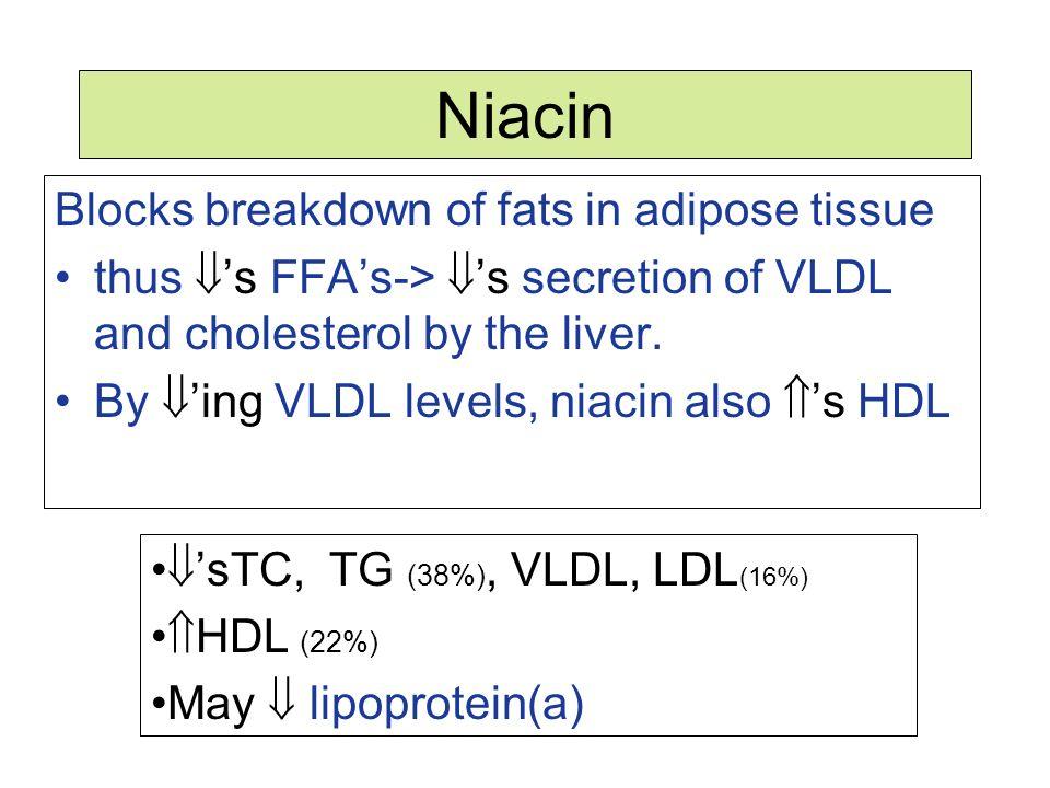 Niacin Blocks breakdown of fats in adipose tissue