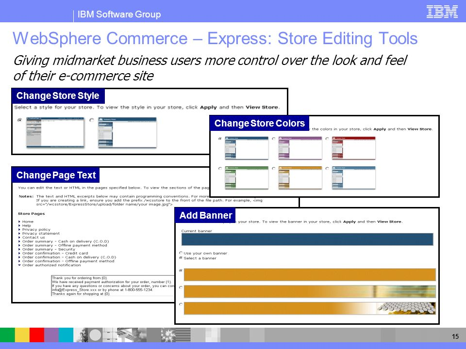 WebSphere Commerce – Express: Store Editing Tools
