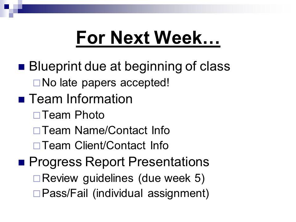 For Next Week… Blueprint due at beginning of class Team Information