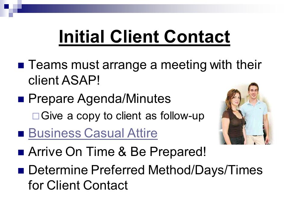 Initial Client Contact
