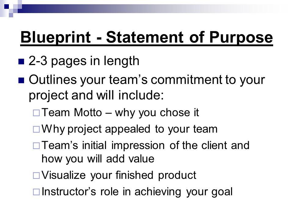 Blueprint - Statement of Purpose
