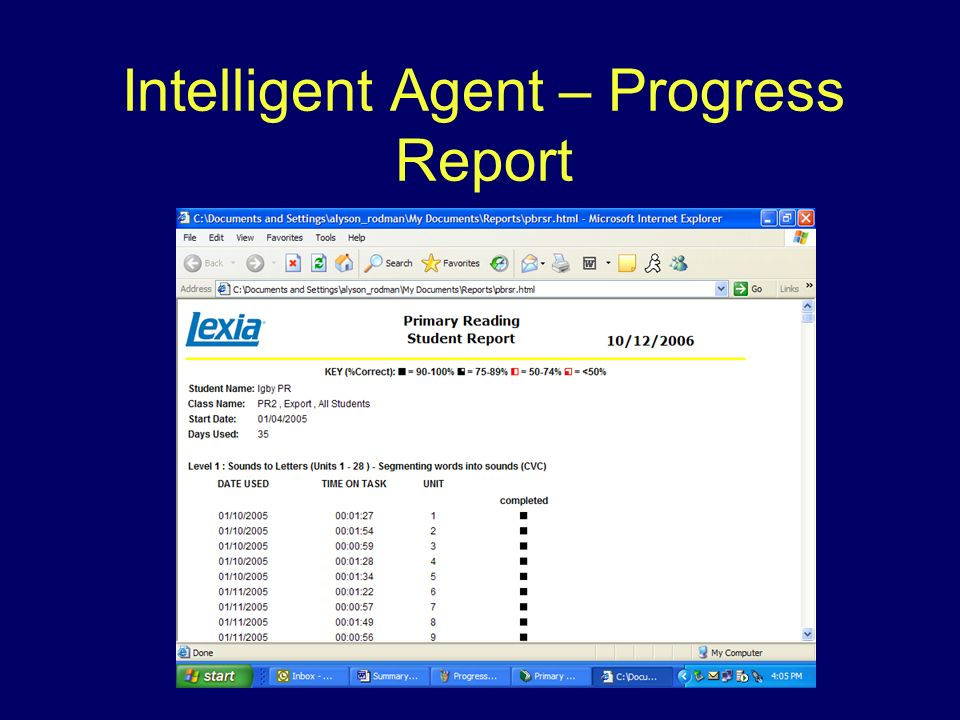 Intelligent Agent – Progress Report
