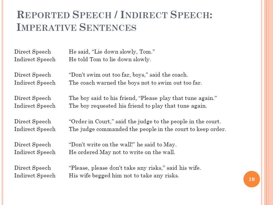 Reported Speech / Indirect Speech: Imperative Sentences