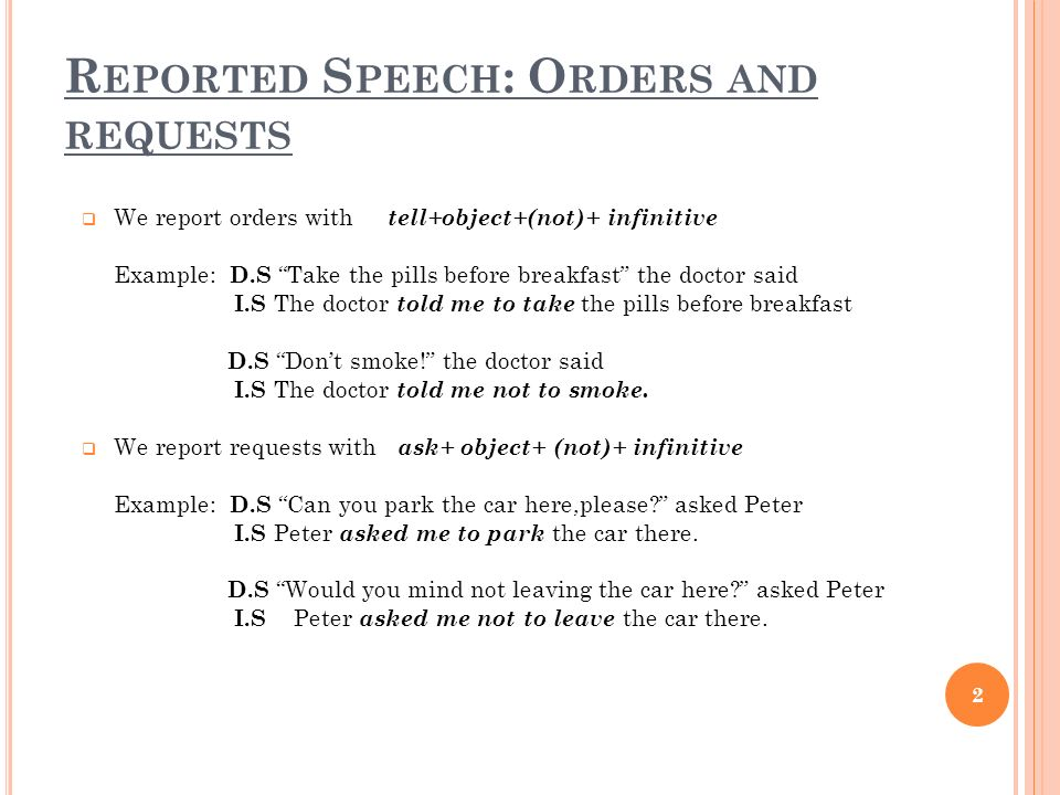Reported Speech: Orders and requests