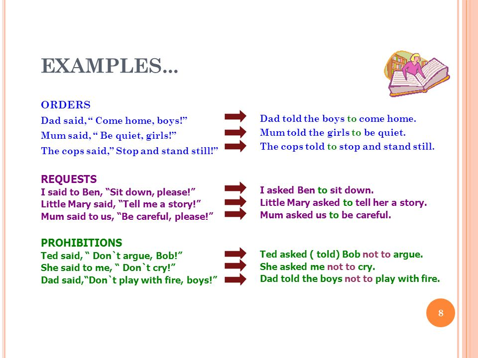 EXAMPLES... ORDERS REQUESTS PROHIBITIONS Dad said, Come home, boys!