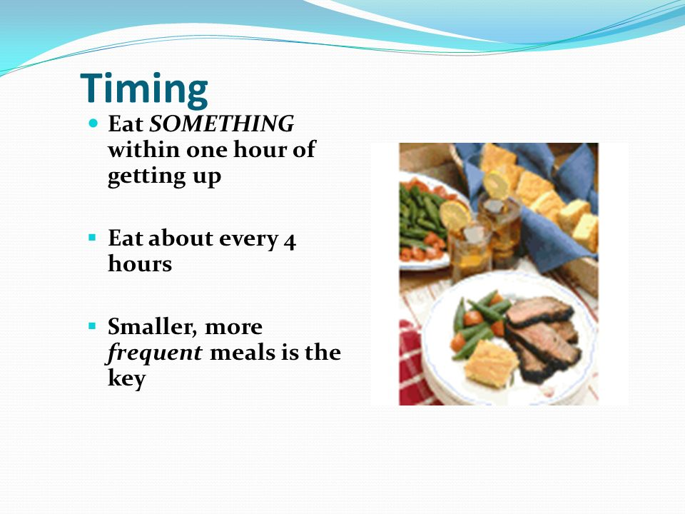 Timing Eat SOMETHING within one hour of getting up