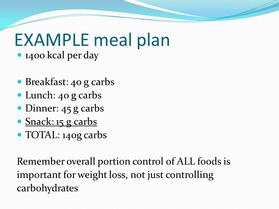 EXAMPLE meal plan 1400 kcal per day Breakfast: 40 g carbs