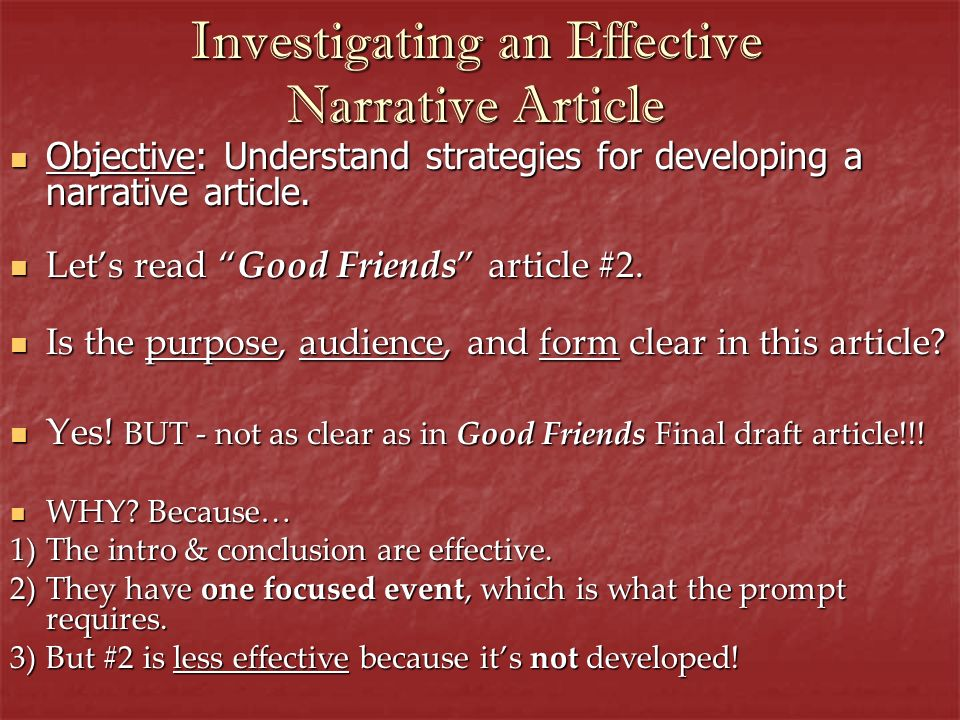 Investigating an Effective Narrative Article