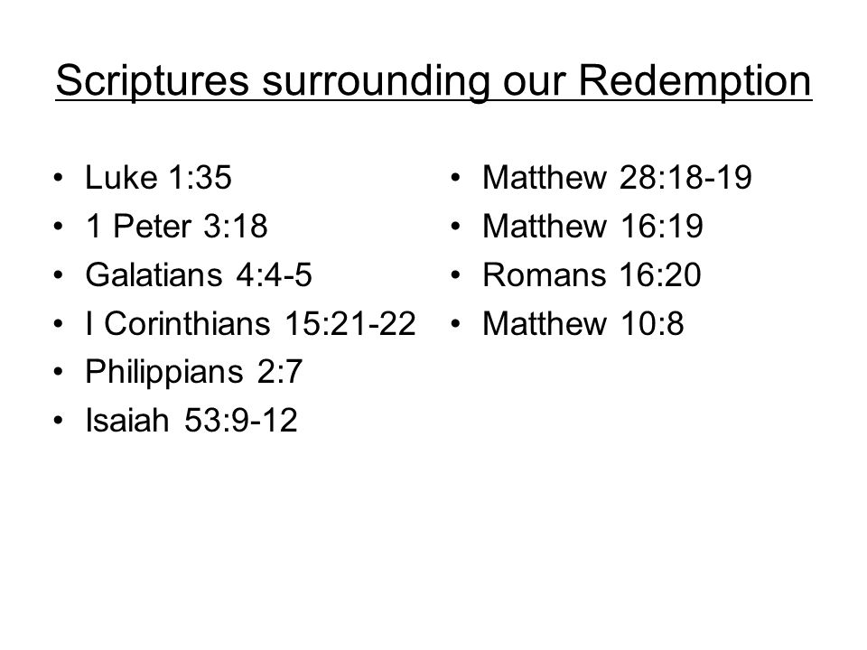 Scriptures surrounding our Redemption