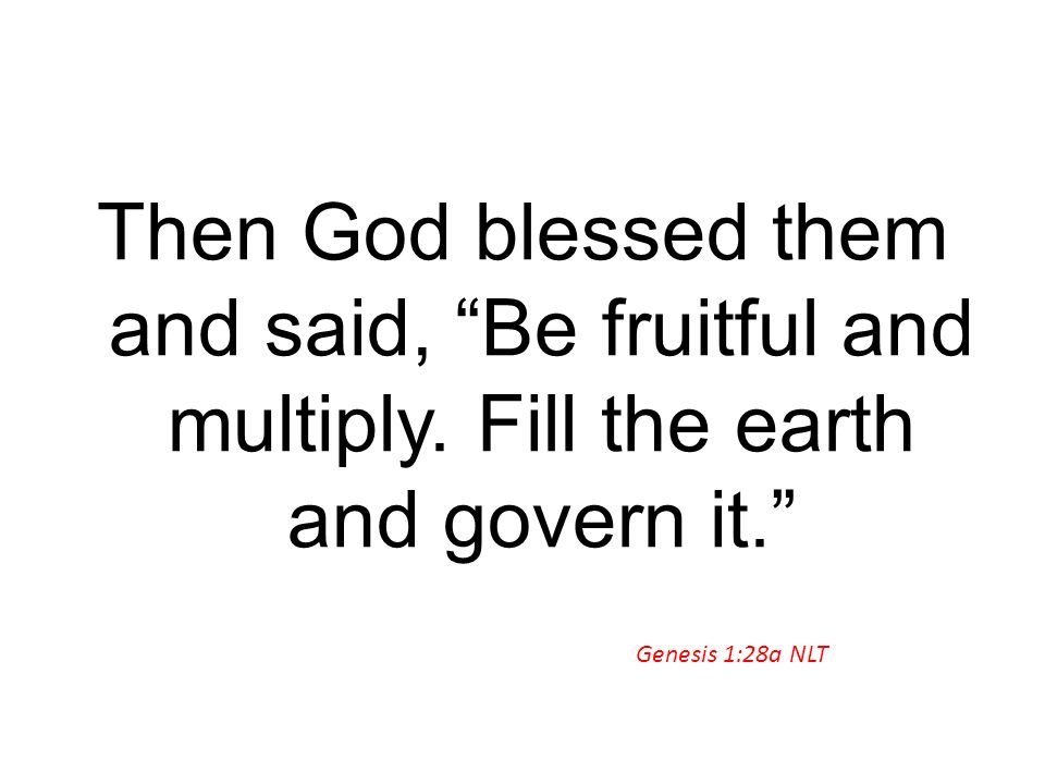 Then God blessed them and said, Be fruitful and multiply