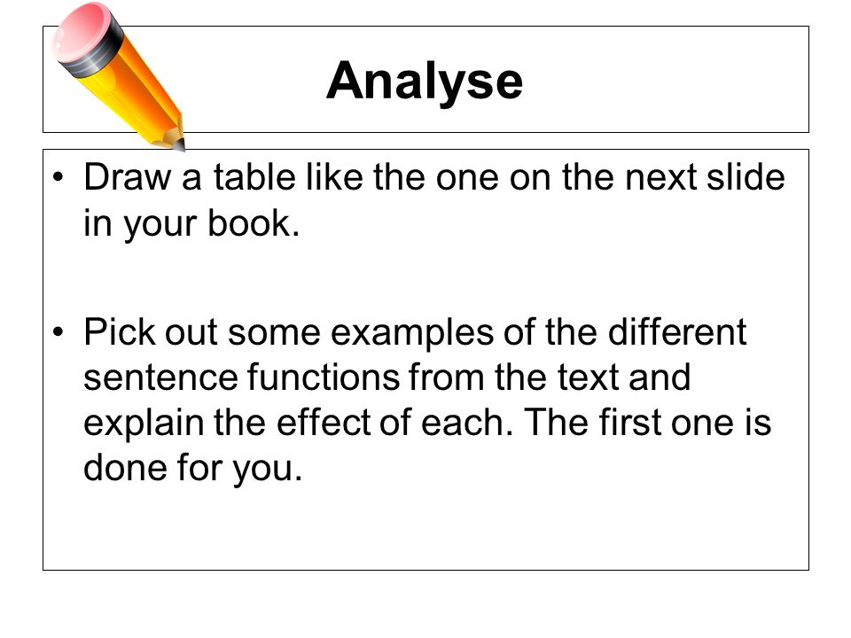Analyse Draw a table like the one on the next slide in your book.