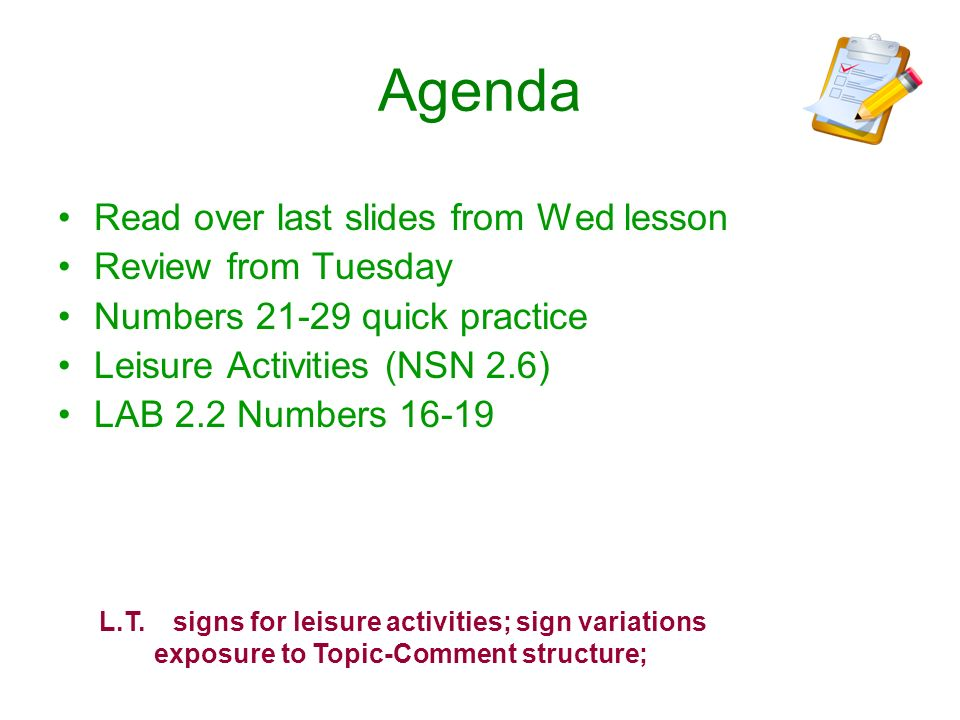 Agenda Read over last slides from Wed lesson Review from Tuesday