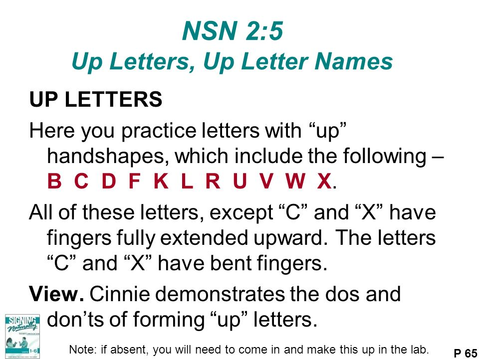 NSN 2:5 Up Letters, Up Letter Names