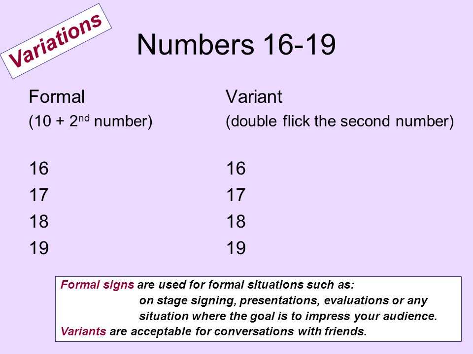 Numbers 16-19 Variations Formal 16 17 18 19 Variant 16 17 18 19