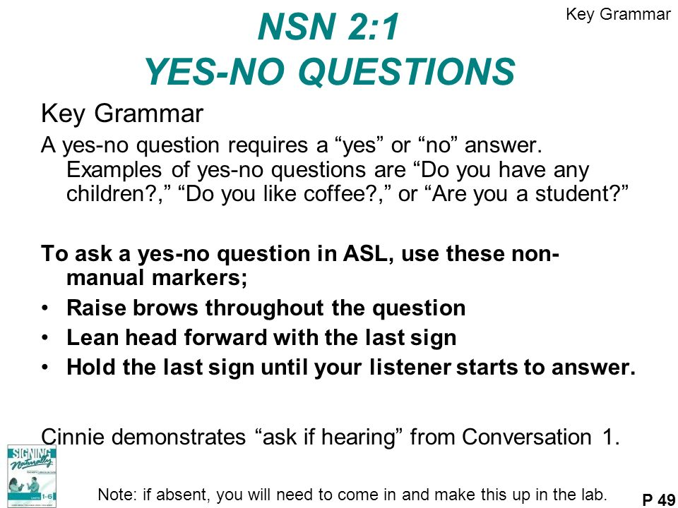 NSN 2:1 YES-NO QUESTIONS Key Grammar