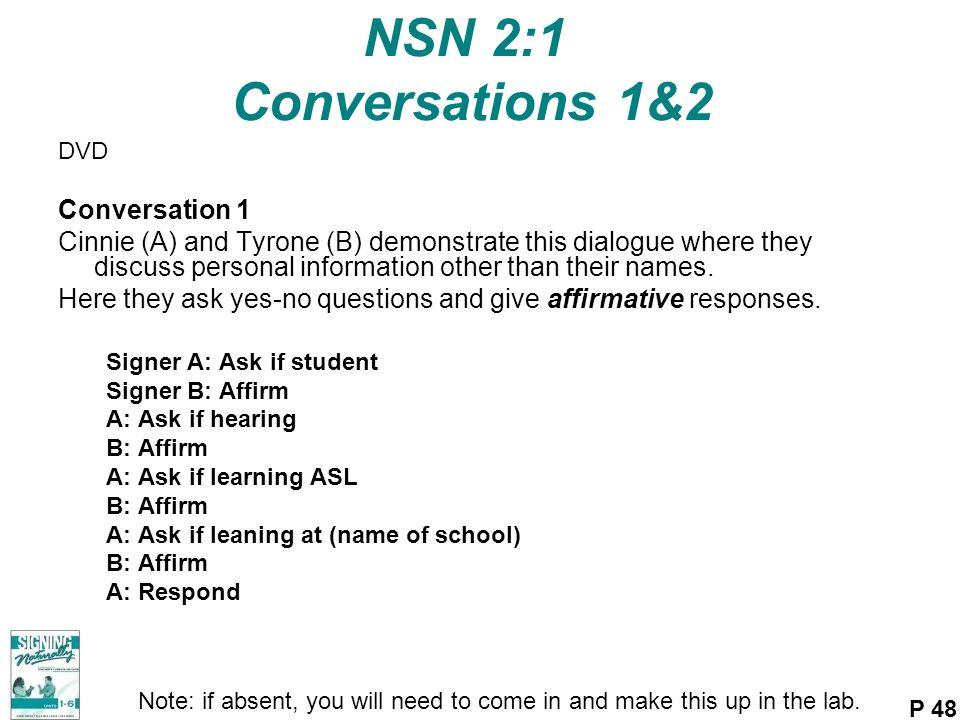 NSN 2:1 Conversations 1&2 Conversation 1