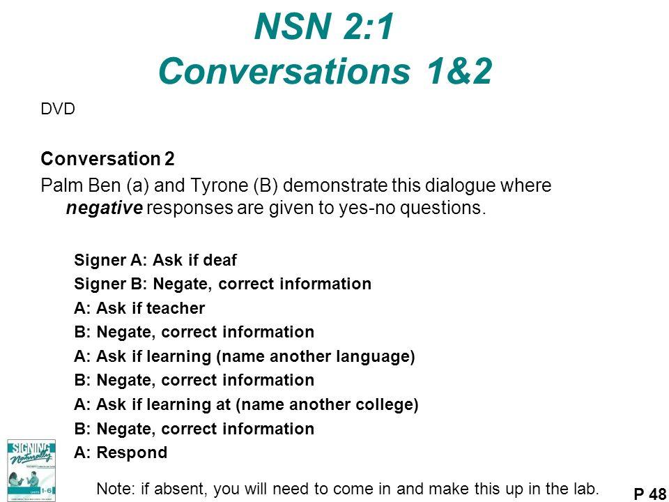 NSN 2:1 Conversations 1&2 Conversation 2