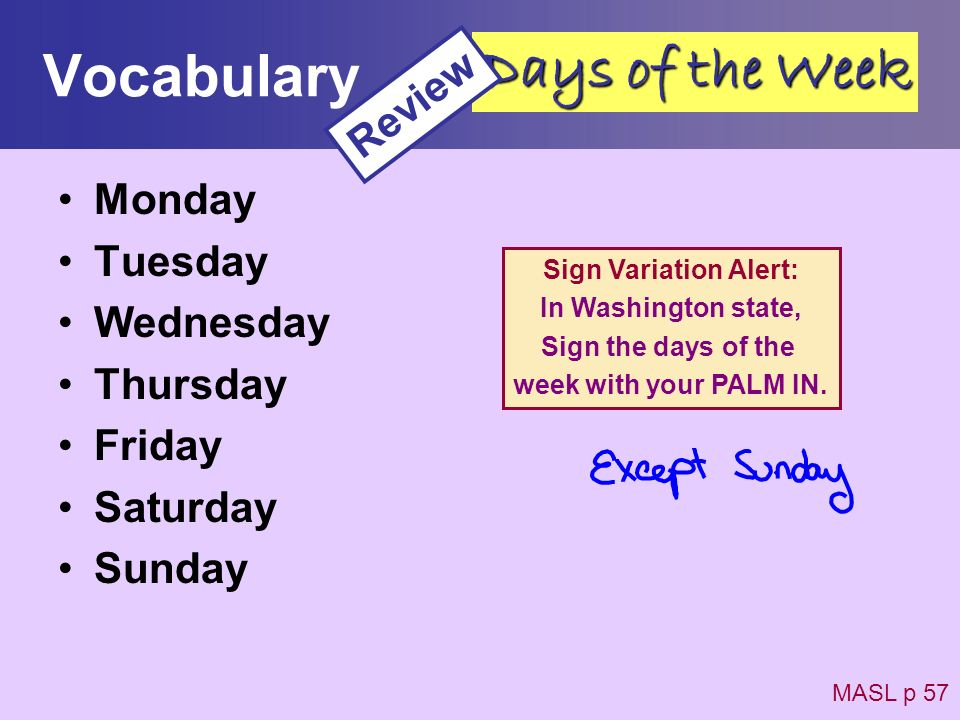 Vocabulary Days of the Week Review Monday Tuesday Wednesday Thursday