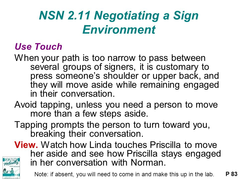 NSN 2.11 Negotiating a Sign Environment